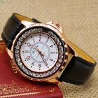 Classic Round Dial Crystal Leather Quartz Wrist Watch Girl Lady Gift Luxury