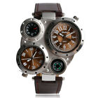 OULM Big Dial Leather Sports Military Army Dual Time Zone Movement Watch Men
