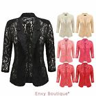 WOMENS LADIES OPEN FRONT PADDED LACE BLAZER SUMMER SMART SUITS COAT JACKET TOP