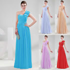 Sexy One Shoulder Long Ball Gown Bridesmaid Wedding Formal Evening Party Dress