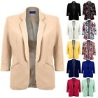 Women's Open Front 3/4 Turned Up Sleeve Ladies Office Smart Jacket Blazer 8-16