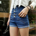 Hot Lady Sexy Blue High Waisted Hotpants Stretch Shorts Denim Jeans Pants