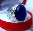 Beautiful Tibetan Silver Men's blue Opal Rings 8--11#