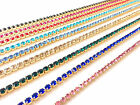 1M Sewing Diamante/Rhinestone Crystal Colour Chain,Ribbon Gold Base A++ Quality