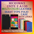LEATHER DIARY FOLIO FLIP FLAP CASE for MICROMAX UNITE 2 A106 FRONT & BACK COVER