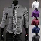 Mens Luxury Tailored 2016 Solid Color Long Sleeve Sexy Dress Tops Shirt TOPS