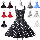 New Polka dot Swing Pinup Jive Vintage Rockabilly Cocktail Party Evening Dress