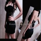 Women New Sexy See-through Lace Backless Halter Clubwear Party Lady Mini Dress