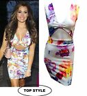 sexy Ladies Dress Women Bodycon Midi Floral Print Cut Out Knot Stretch Sleevless