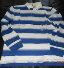 4826J New Timberland  Men's long Sleeve Rugby Stripe Polo Shirt Blue Size S-2XL