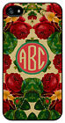 Personalized Monogram Vintage Roses Floral case for Iphone 4 4s 5 5s 5c M222