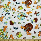 Frolicking Forest Foxes Owls Hedgehogs Snails 100% Cotton Fabric