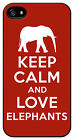 Keep Calm and Love Elephants Red case cover for Iphone 4 4s 5 5s 5c