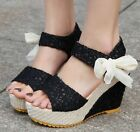 Womens Sandal Wedge heel cute comfort Ankle Strap Platform bow-tie shoes new