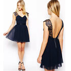 Women Sexy V Neck Lace Halter Club Evening Cocktail Formal Party Chiffon Dress