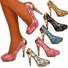 NEW Ladies Womens Floral Lace See-Thru Multi Colour Round Toe Shoes Pumps Size