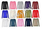 Childrens Kids Stretchy Plain Round Scoop Neck Long Sleeve Top/T Shirt Age 7-13y