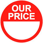 Blank Red RRP / Our Price Point Stickers Sticky Labels 20mm 25mm 30mm 35mm 45mm