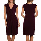 Alluring Twist Front Sleeveless Jersey Cocktail Party Day Night Dress Rosewood