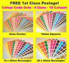 10mm Squares 20 X 30mm Rectangles Colour Code Dots Price Stickers Sticky Labels