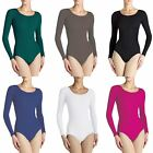 LADIES ROUND NECK BODYSUIT WOMENS LONG SLEEVE SEEMLESS LEOTARD TOPS IN UK 8-18