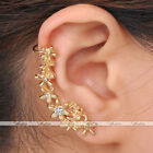 Fashion Punk Ear Cuff Wrap Rhinestone Flower Screw U Clip Womens Earring Jewelry
