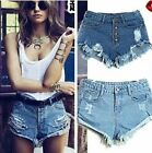 Hot Ladies Womens Denim Hotpants Vintage Cut Off High Waisted Denim Shorts 8-14