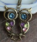 1x Retro Style Colorful Crystal Hollow Owl Carved  Pendant  Chain Necklace