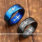 Fashion Stainless Steel Punk Gothic Cross Men Women's Band Finger Rings Jewelry