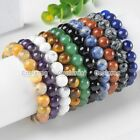 10mm Natural Gemstone Beads Healing Point Lucky Stone Stretchy Bangle Bracelet