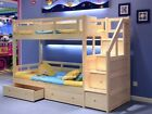 Luxury Solid Pine Bunk Beds With Storage Drawers - Natural Pine Or White Finish