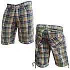 Mish Mash Mens Rick Shaw Designer Button Up Checked Shorts Final Clearance Sale