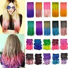 Colorful Rainbow Cosplay Curly Straight Clip in Hair Extensions Hairpiece Wig