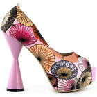 Pink/Blue Umbrella Print Open Toe Platform Cone Heels Pumps Size 4/5/6/7/8/9/9.5