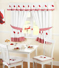 Poppy Kitchen Curtains - Red White Ready Made Embroidered Net Curtain Set