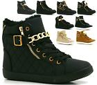 Ladies Ankle Lace Up Gold Flat Hi-top Wedge Shoes Boots Womens Trainers Size