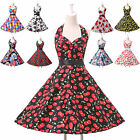 Classy 50s 60s Vintage Swing Cocktail Party Evening Prom Floral Dress