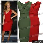 Womens Sexy V-Neck Wedding Cocktail Bodycon Evening Party Red Green Slim Dresses