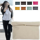 Women Ladies Casual Color Clutch Bag Faux Leather Large Evening Roll up Handba R