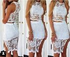 Sexy See Thru Crochet Lace Crop Tank Top+High Waist Slit Pencil Skirt Clubwear C