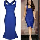 Women Vintage Blue Bodycon Bandage Dress Cocktail Evening Party Pencil Dress