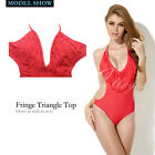 Colloyes 2014 New Sexy Red One-piece Swimwear with Fringe & Side Cut-outs M-XL