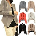 Soft Stretch Women's Asymmetry Long Sleeve Contrast Color Loose Cardigan Jacket
