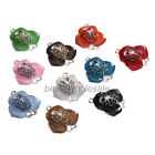5pcs Lovely New Enamel Crystal Flower Charms Connector For Necklace&Bracelet