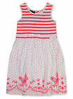Girls White Neon Pink Striped Sun Dress Kids Party Dresses New Age 2 - 8 Years