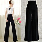 Mode Women's Black High Waisted Palazzo Pleated Trousers Pants
