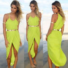 Fashion Womens Long Irregular Boho Bohemia Beach Sundress 4Colors Szie XXS-M