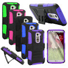 Film + Armor Heavy Duty Hard Case Cover For LG G2 D801 D802 VS980 w / Holster