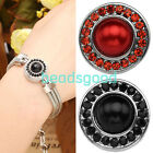 Charms Crystal Faux Pearl Buttons Fastener Fit Punk Leather Bracelet DIY