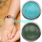 1x Charm Round Gemstone Buttons Snap On Fastener Fit Punk Leather Bracelet